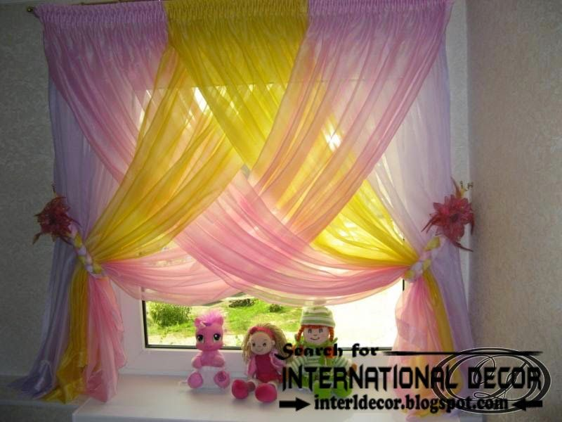 Stylish Modern Curtain Designs 2015 Curtain Ideas Colors Colorful Kids Curtains Aye For The Girls Bedroom Dark Pink Light Pink And White Behind The