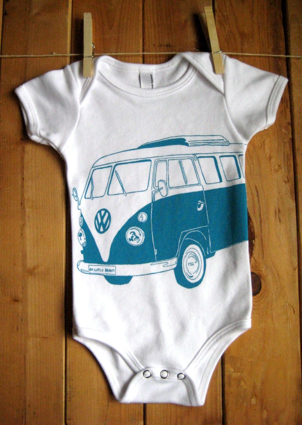 5e6306d3a Screen Printed American Apparel VW Bus Onesie (You Pick Size)