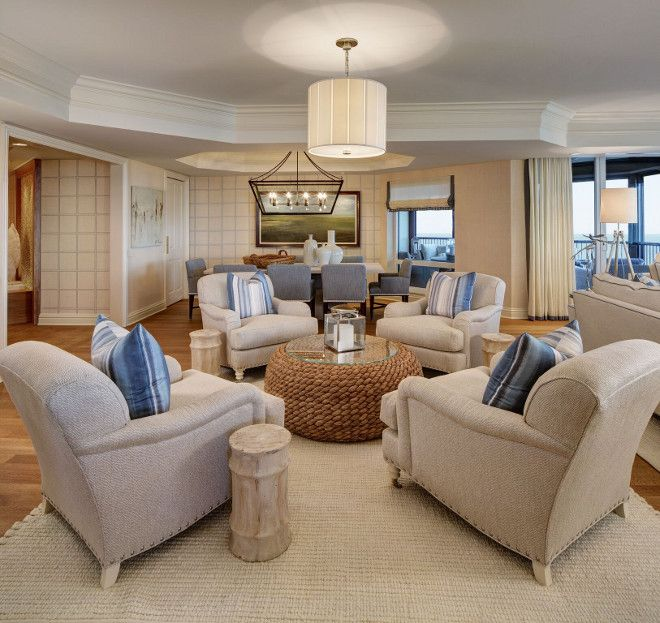 Living Room Area Rugs Blue Walls: Florida Beach Condo Living Room Conversation Sitting Area