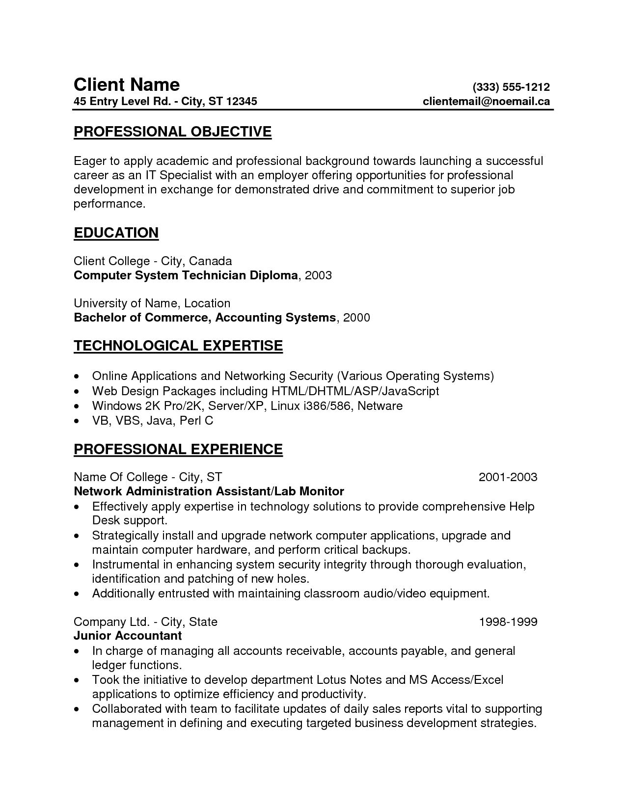 resume samples entry level inspiration decoration sample