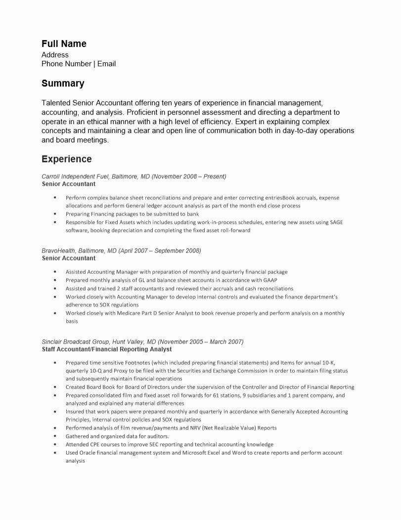 Accountant Resume Sample Doc Inspirational Accounting