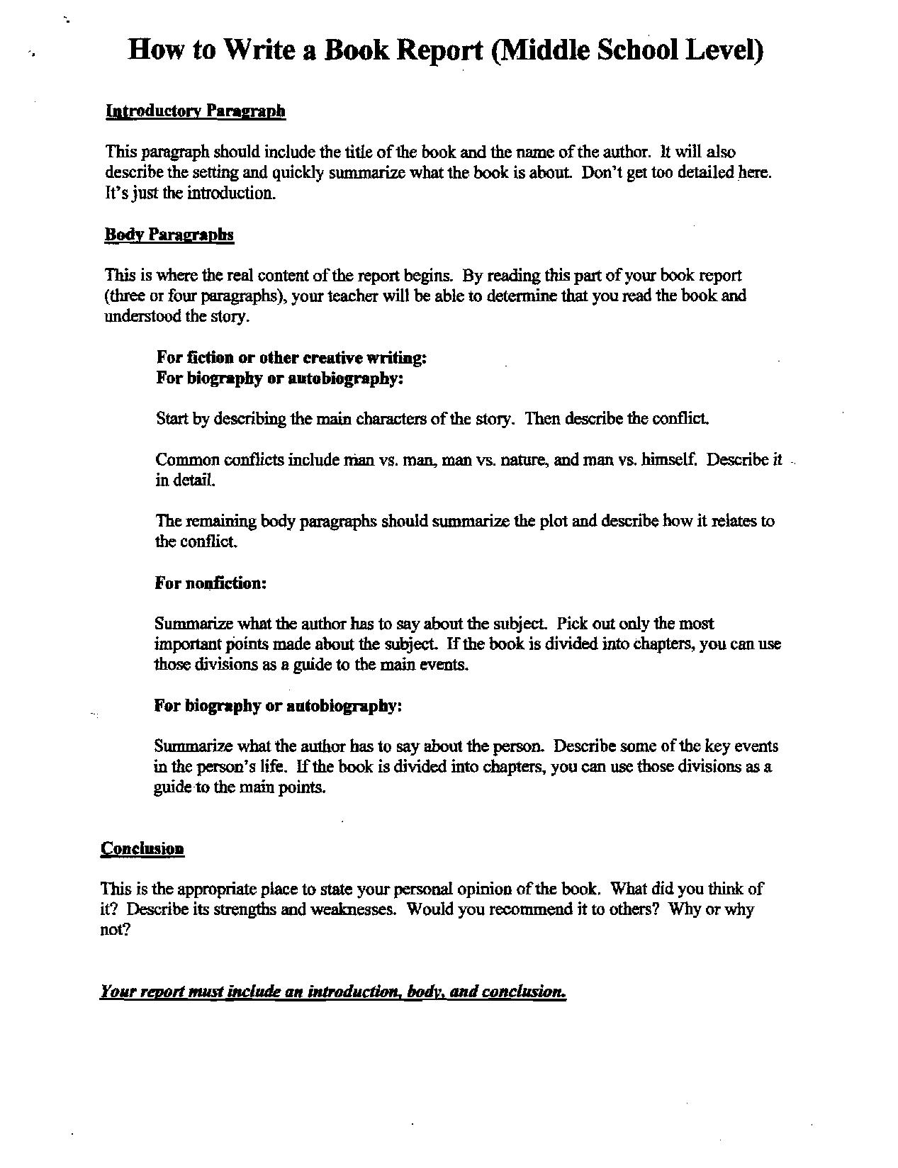 Middle School Book Report Flowchart  Middle School Book Report