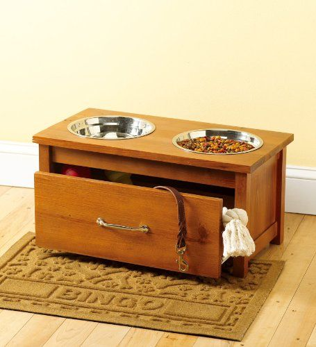 Lovely Raised Wooden Pet Feeder With Storage Drawer In Honey Pine   Http://www