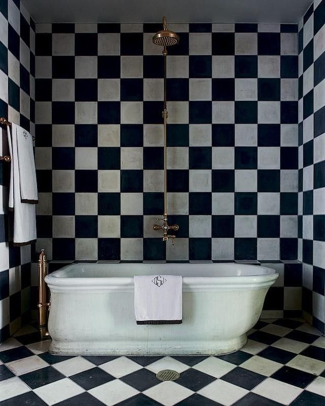 Design Megillah Bathroom Redesign For Under 200: Olatz-schnabel-black-white-tile-bath-remodelista In 2019