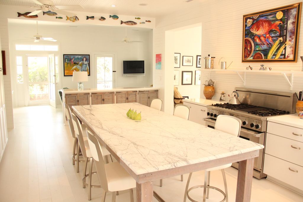 Contemporary Kitchen with Ceiling fan, TV Wall Mount, Flat panel ...