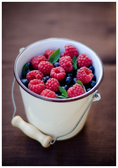 bucket of berries, I still have great memories of eating raspberries right off the vine with real farm fresh cream and sugar at my aunt Trudy's farm