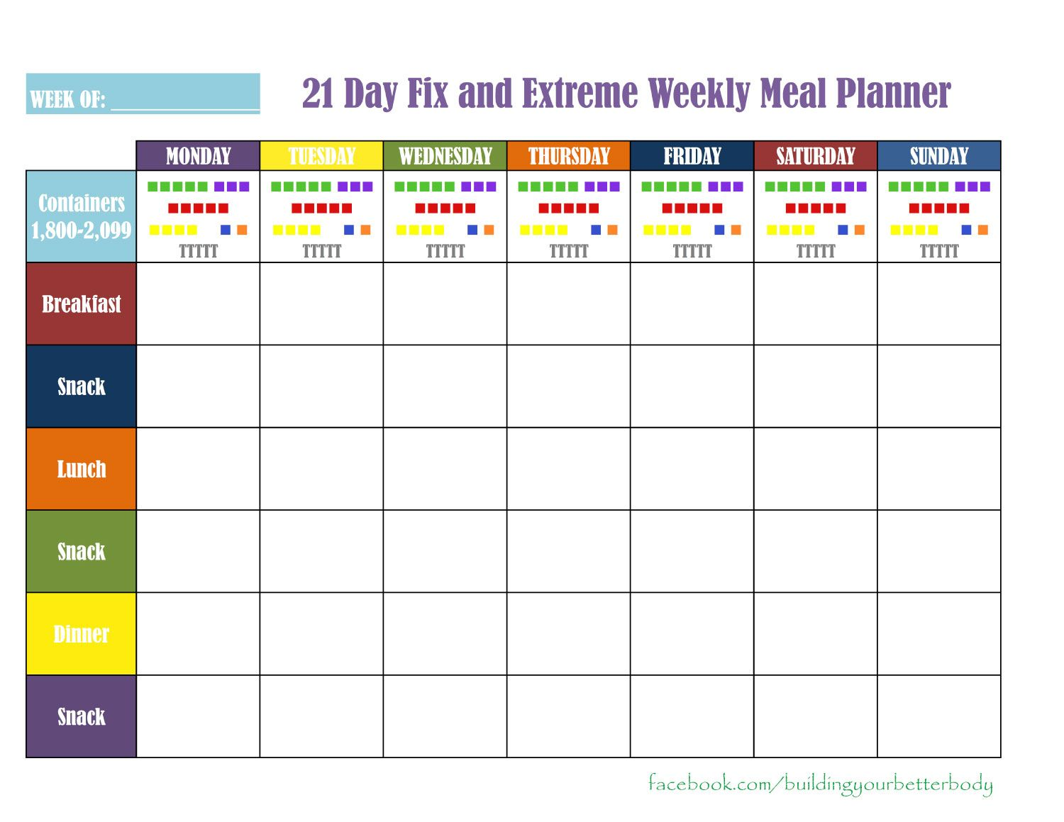 21 Day Fix Weekly Meal Planning Sheet For The 1800 2 099 Calorie Range