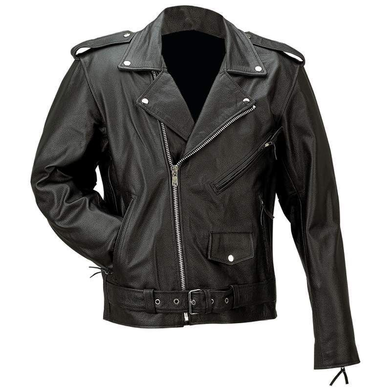 Men Black Motorcycle Jacket Solid Buffalo Leather Leather Jacket Buffalo Leather Jacket Jackets Men Fashion