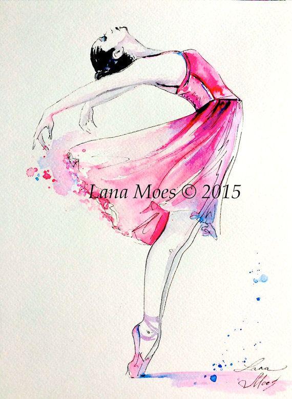 Ballerina Pink Illustration Print Original Watercolor Painting