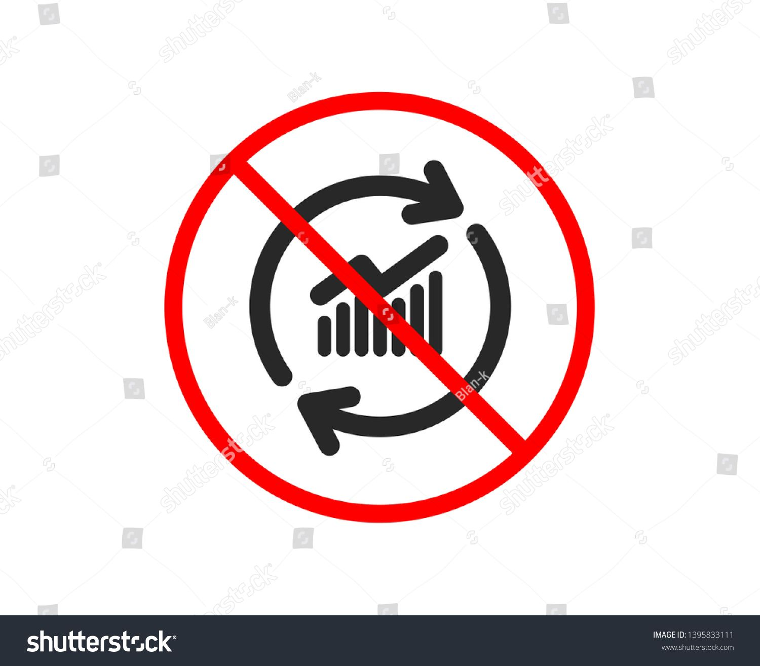 No Or Stop Chart Icon Update Report Graph Or Sales Growth Sign Analysis And Statistics Data Symbol Prohibited Ban Stop Symbol No Upd Data Icon Vector Icon