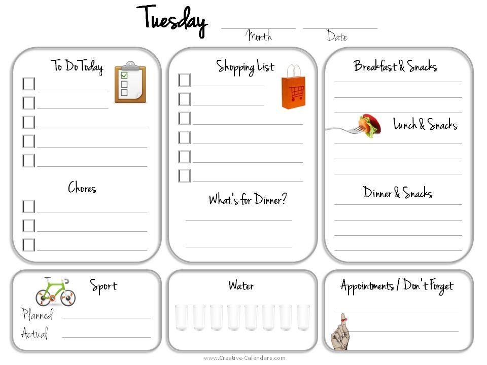 Printable Daily Calendar Tuesdayg 960720 Printable Pinterest