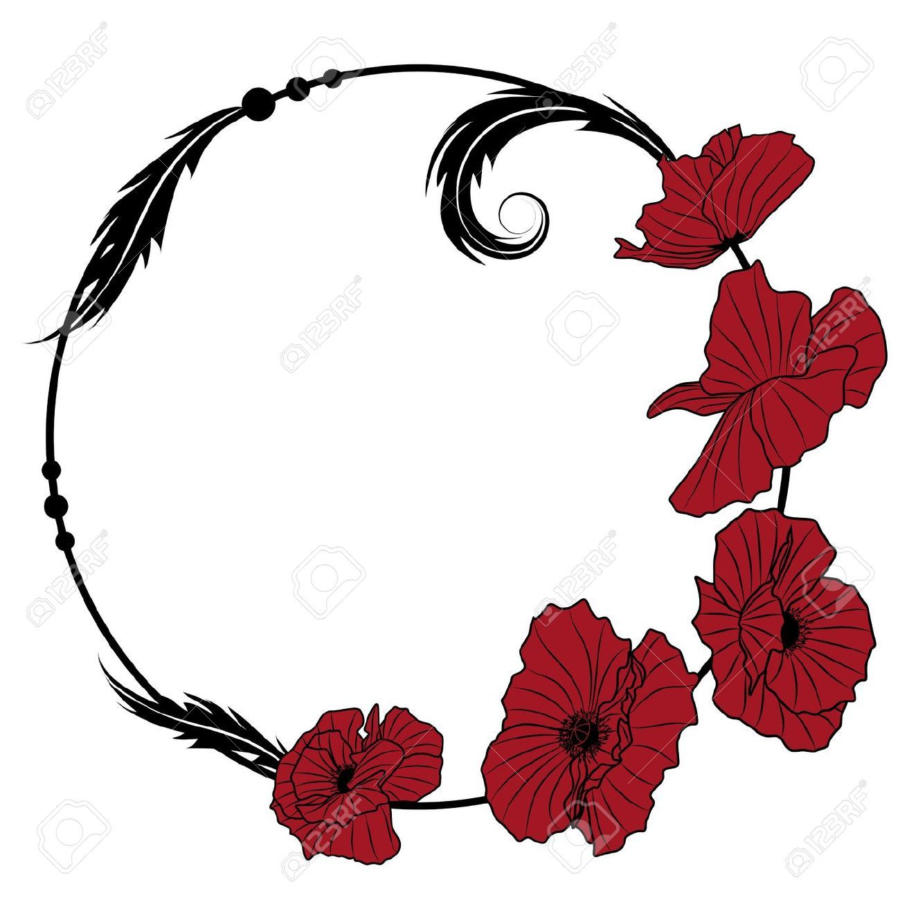 Art Nouveau Flower Tattoo: 8923632-vector-frame-with-flowers-of-red-poppy-Stock