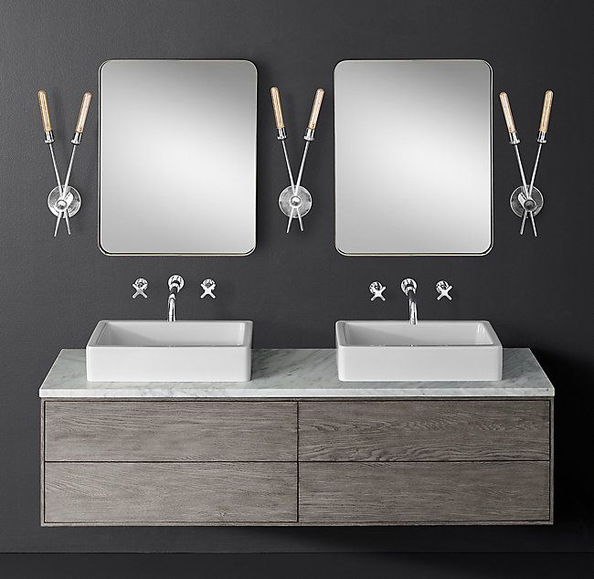 Bowen Double Floating Vessel Vanity   Wall Mount