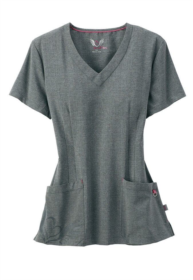 8eced4565bd Smitten v-neck logo pocket scrub top in Heather Grey - how cute is the heart  pocket detailing? | Scrubs & Beyond