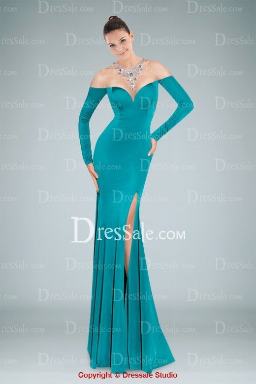 Illusion Jewel Neckline Long Sleeve Sweep Train Evening Dress with Beading and High-split