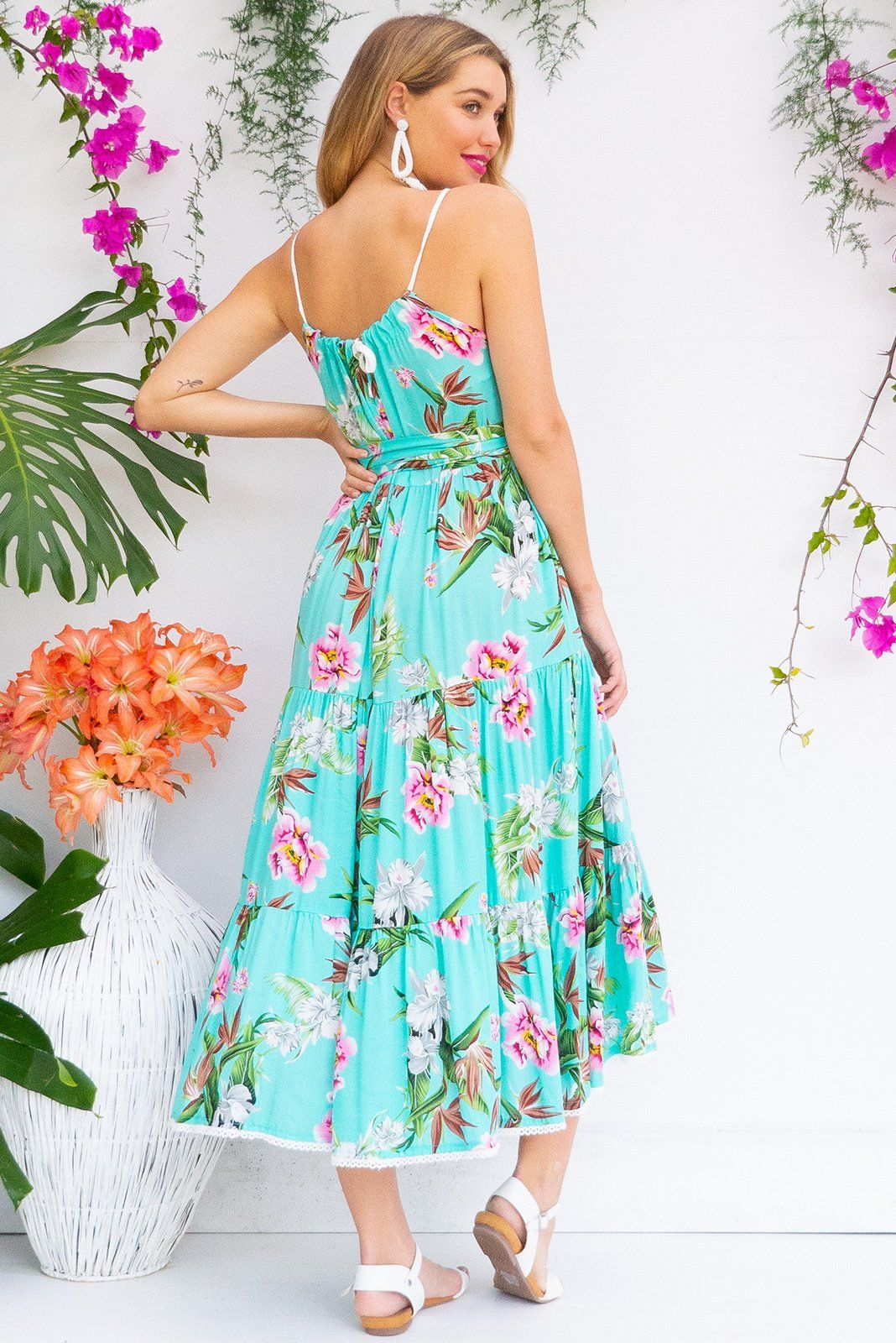 3f019fb947b1 Lulu Loves Tropical Turquoise Maxi length rayon tiered dress with a  adjustable neckline, side pockets in a gorgeous bright aqua green colour  with tropical ...