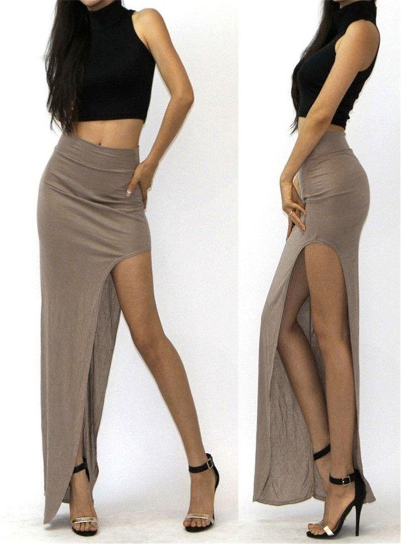 67c3b85d52c Сексуальные женщины хип пакет тонкий длиной макси юбка карандаш высокая  талия юбка с разрезом купить на AliExpress