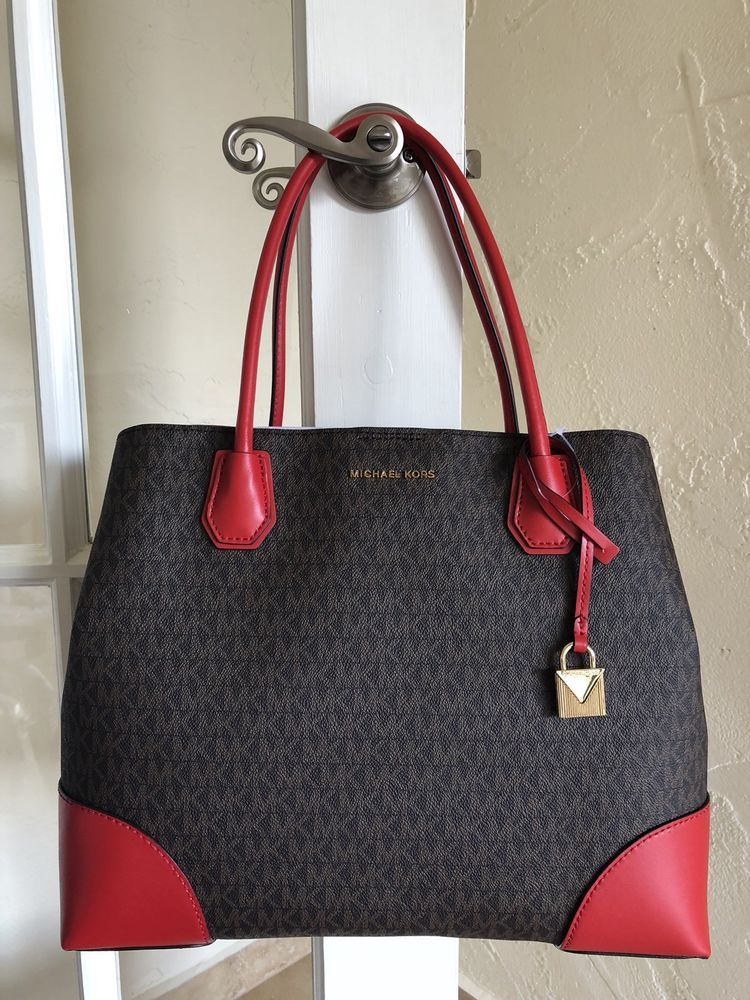 Michael Kors Signature Mercer Corner Large Center Zip Tote Brown Bright Red   6909dc27f78b7