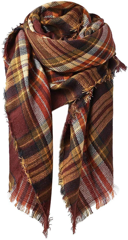 Women Winter Plaid Scarf Multicolor Wool Warm Shawls Wraps Cashmere Long Tassel