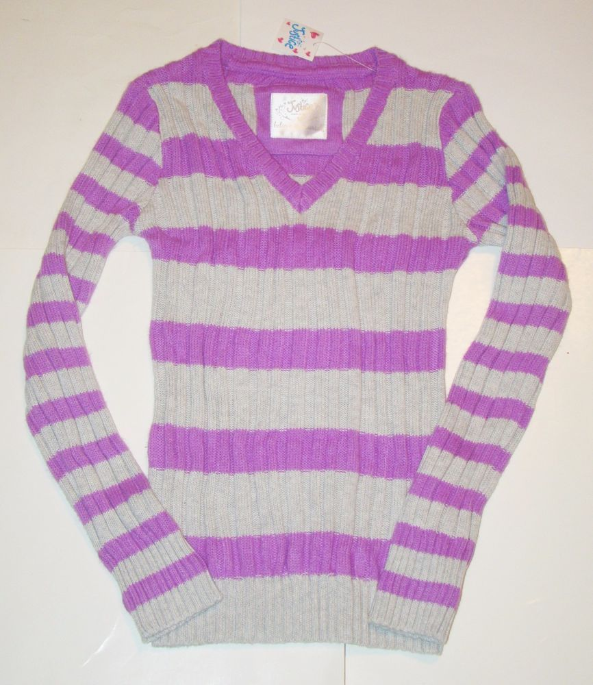 NEW Justice Purple Gray Striped Cable Knit Long Sleeve V-Neck Sweater Girls 10 #Justice #Pullover #Everyday