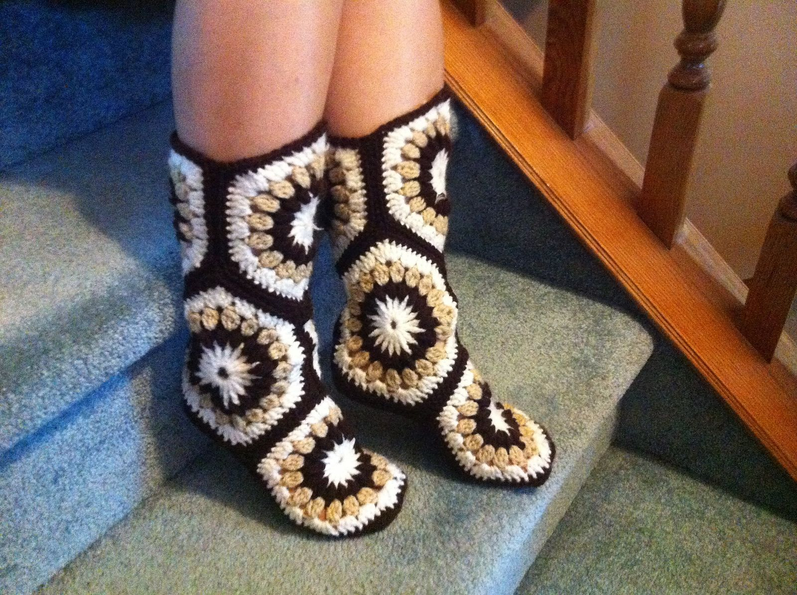 Ravelry: Project Gallery for Hexagon Boot Slippers pattern by Priscilla Hewitt