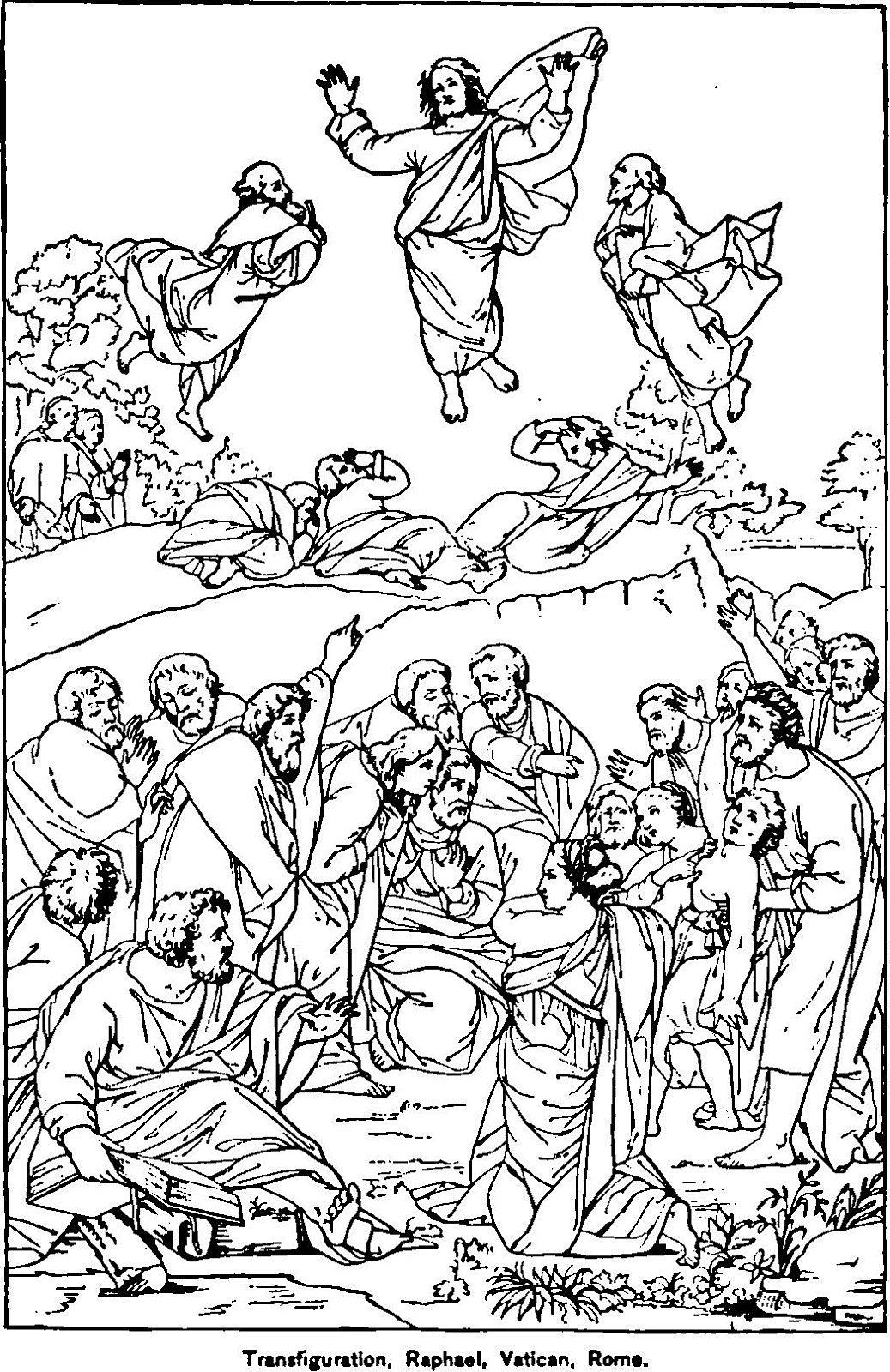 The Transfiguration Catholic Coloring Page Transfiguration Raphael Vatican Rome Jesus Coloring Pages Catholic Coloring Coloring Pages