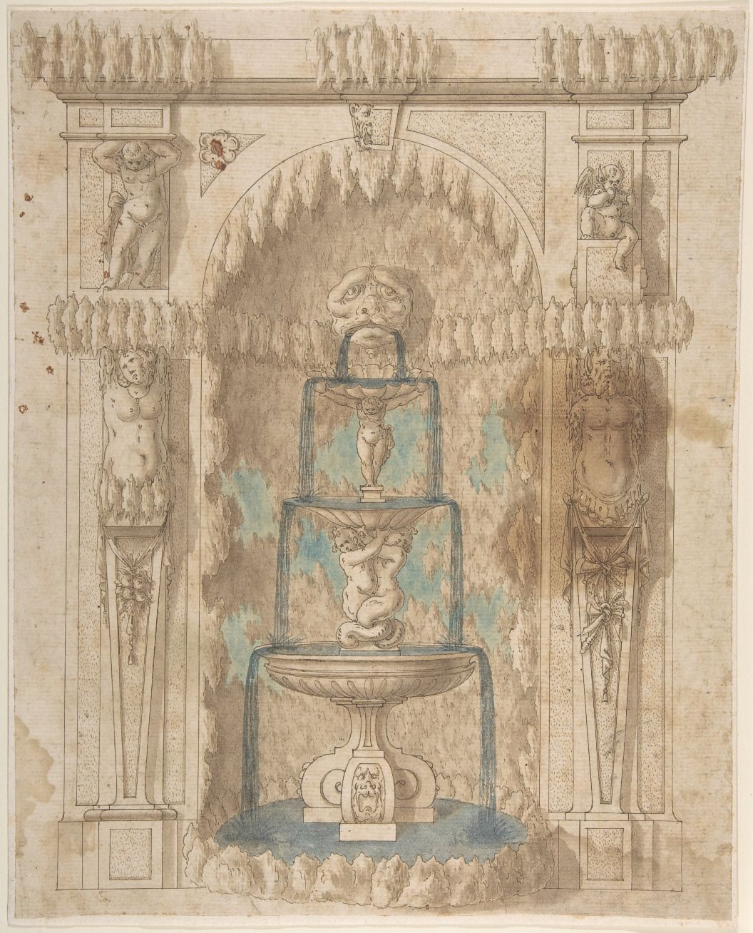 Design for Grotto with a Fountain, Anonymous, Italian, 17th century /  The Metropolitan Museum of Art.