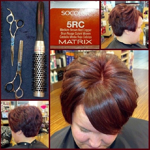 A short red hairstyle by @daphnemarie1313. #LoveOliviaGarden #OliviaGarden #BeautyTools #hair #red