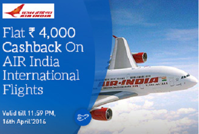 Get Flat Rs.4000 Cashback on Air India International
