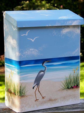 Large Wall Mount Handpainted Mailbox Beach Decor Heron Painted Mailboxes Beach Mailbox Mailbox Design Decorative wall mount mail box