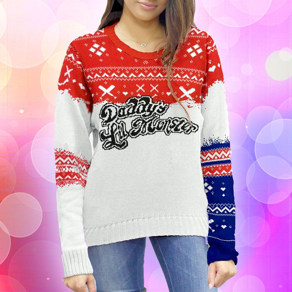 (affiliate link) Harley Quinn: Daddy's Lil Monster Knitted Christmas Sweater/Jumper Preorder