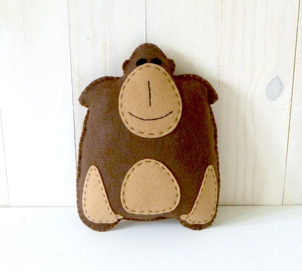 Gorilla Stuffed Animal Sewing Pattern, Plush Gorilla Pattern, Felt ...