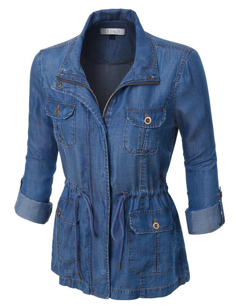 597709503f8 سترة خفيفة الوزن طويلة الأكمام LE3NO للمرأة سترة مع الخصر الرباط Anorak  Jacket