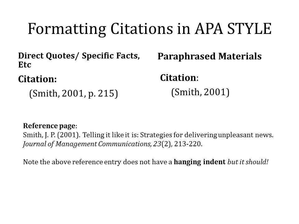 example of apa citation in paper your work Note that APA uses