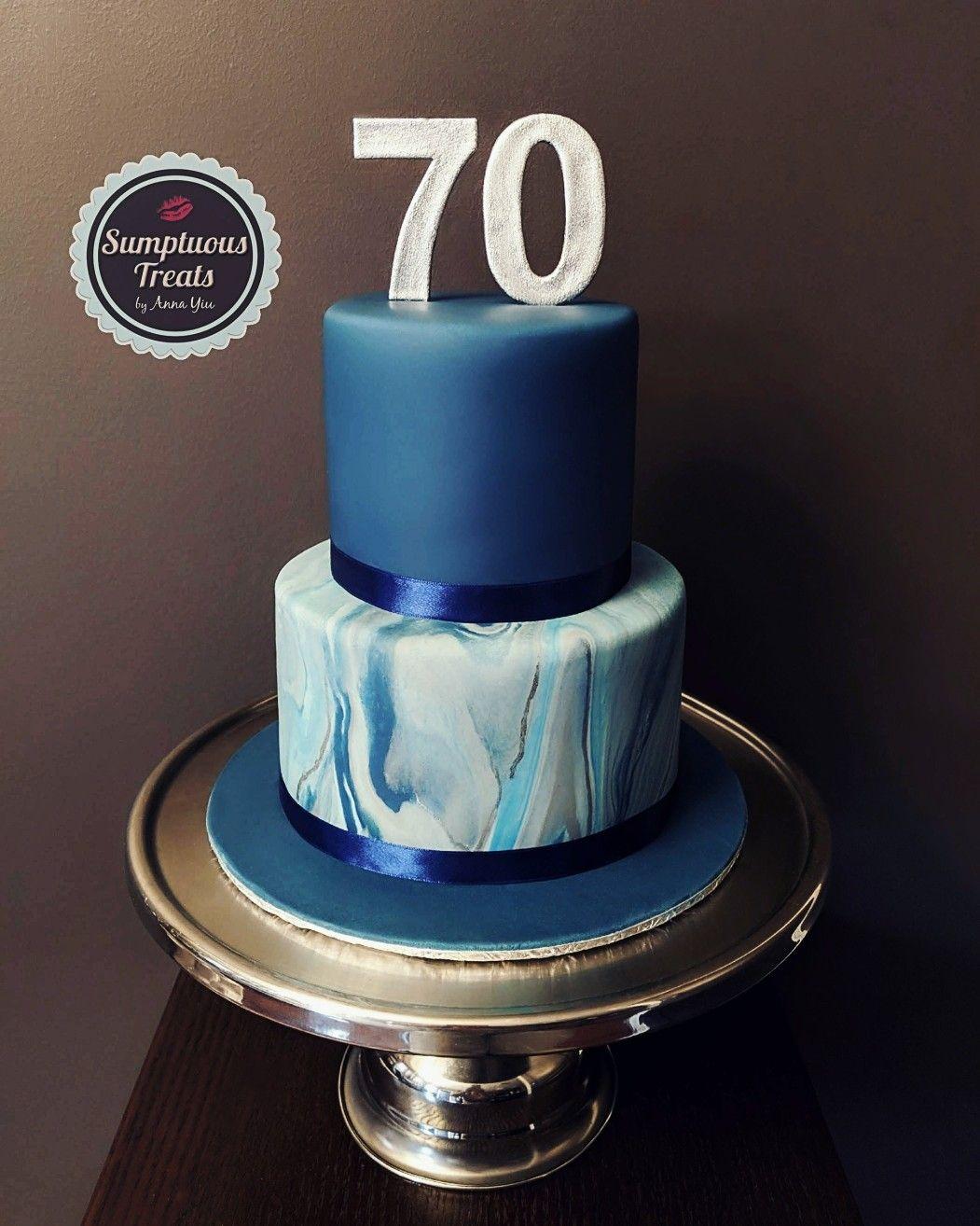 Navy Blue Marble Birthday Cake 70thbirthdaycelebration