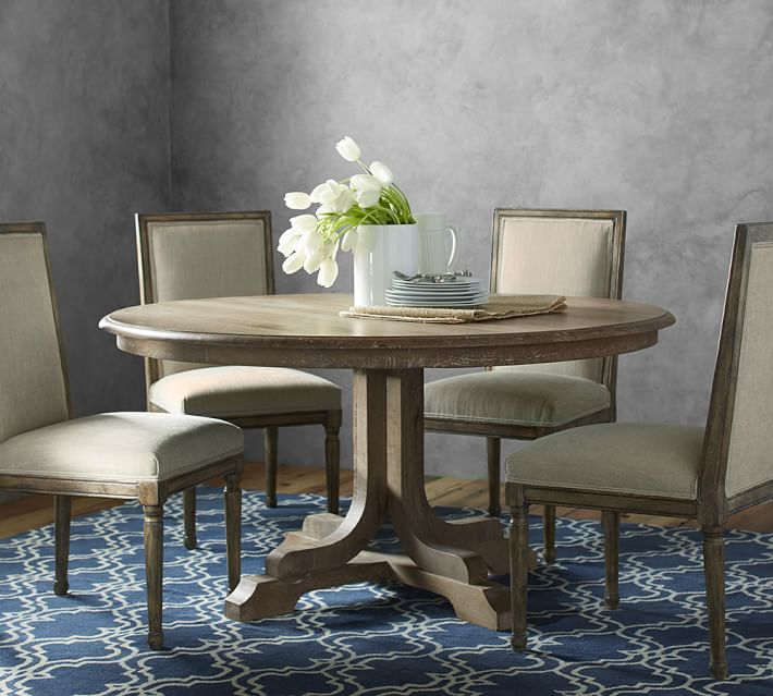 Linden Fixed Pedestal Table Grey At Pottery Barn In 2020