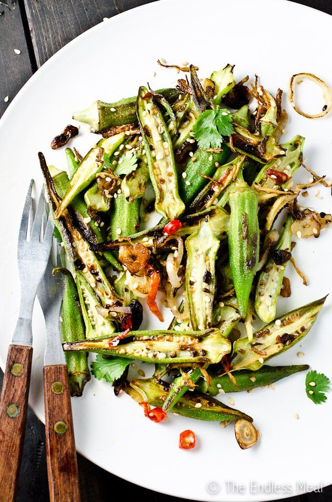 STIR-FRIED OKRA with GARLIC, CHILE & LIME [theendlessmeal] [chile, chilli, chili, pepper, chili pepper, hot pepper]