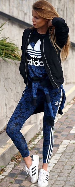 Up L Adidas Black Floral Leggings Tshirt Sporty Blue Zip Striped cxBCp6H