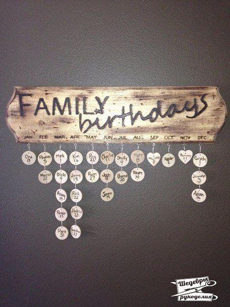 Календарь с Днями Рождения всех членов семьи своими руками ...