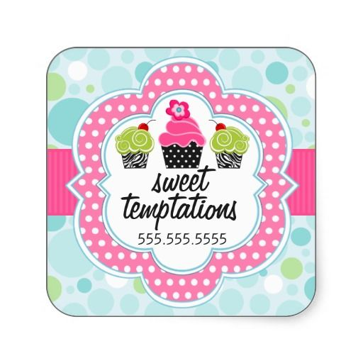 Polka dot crazy cupcake bakery business stickers