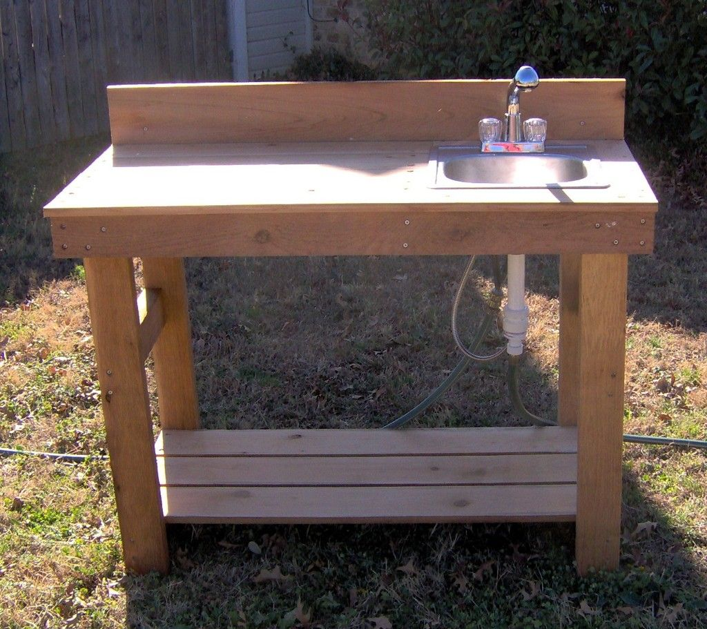 Potting bench with sink potting benches with stainless for Garden potting bench designs