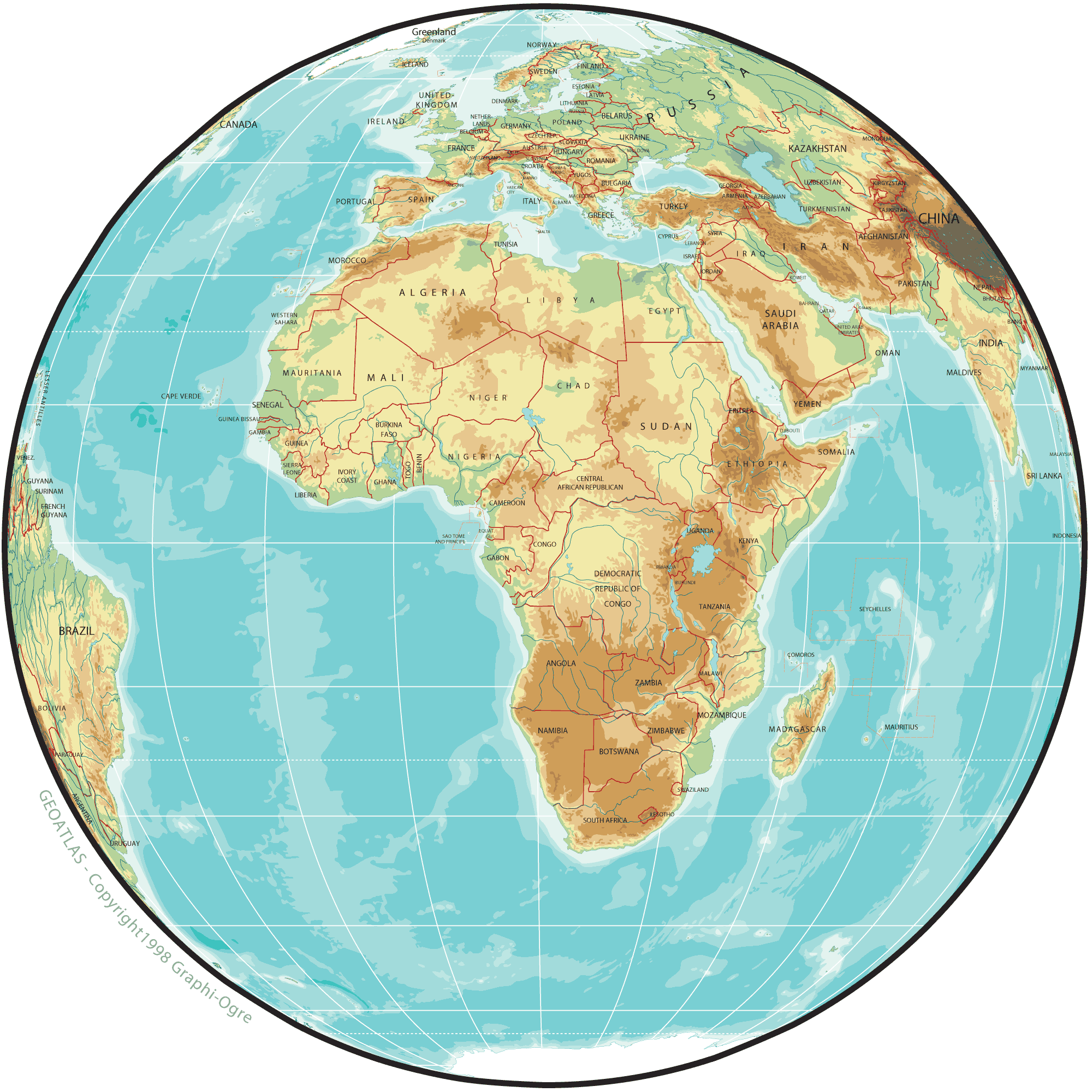 map of africa | Africa Physical Map Globe   africa maps | images