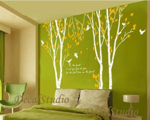 Birch Tree With Flying BirdsVinyl Wall DecalHome Graphic Art - Vinyl wall decals birch tree