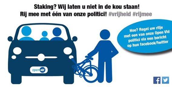Open VLD organiseert carpoolactie tijdens stakingsdagen