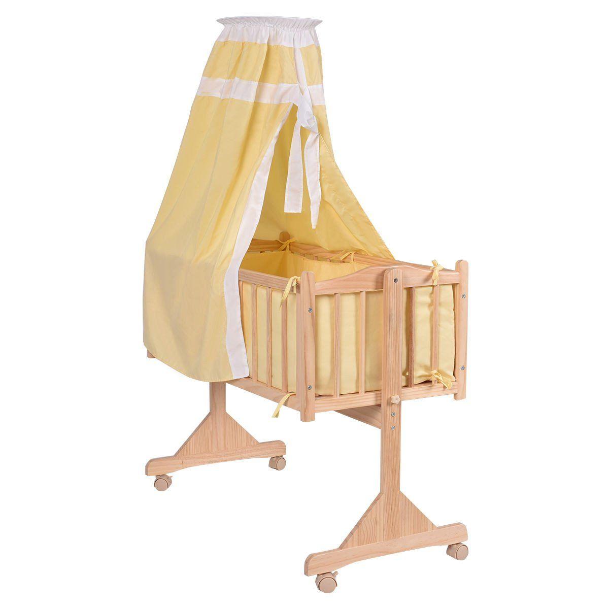 Wood Baby Cradle Rocking Crib Newborn Bassinet Bed Sleeper