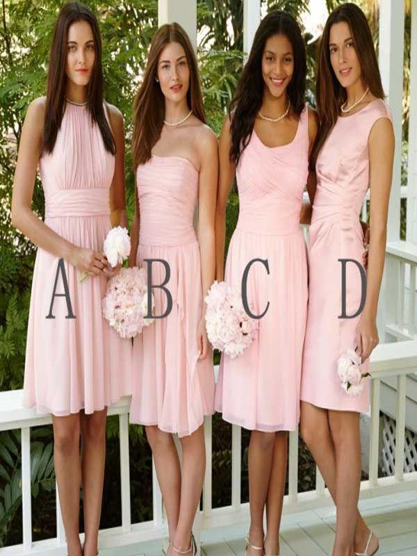 Short Bridesmaid Dress Blush Pink Simple Cute