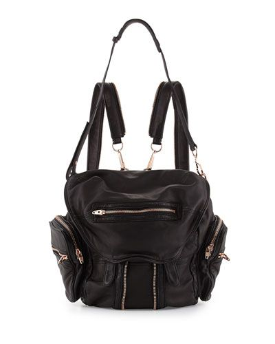 V21CS Alexander Wang Marti Soft-Wash Lambskin Backpack, Black