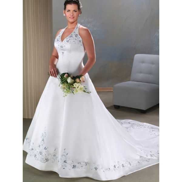 Halter Wedding Dresses Plus Size Halter Embroidered Satin A