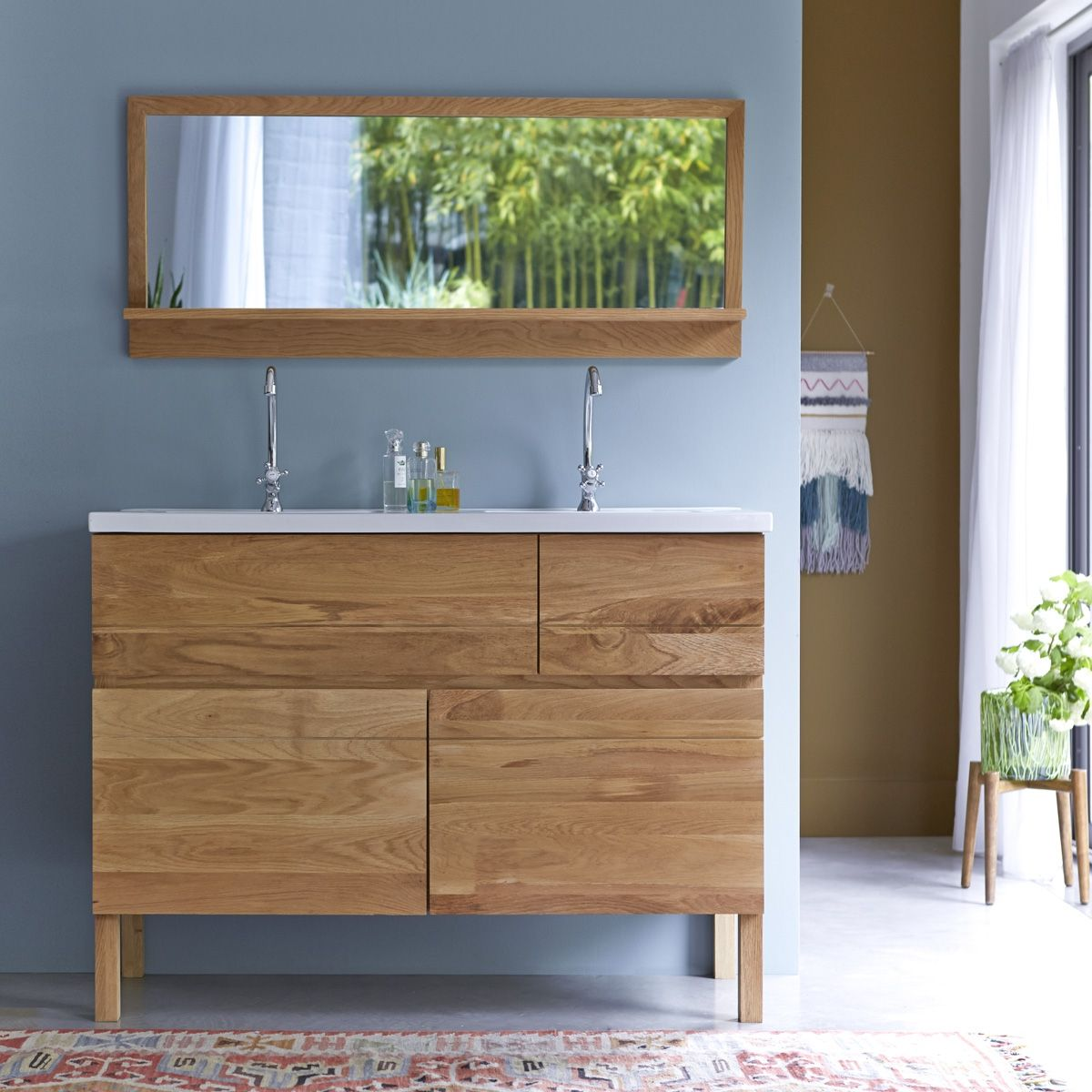 Easy oak and ceramic Vanity Cabinet 120