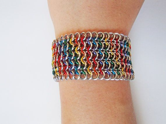 Rainbow Bright Chainmaille Bracelet by JKODesigns on Etsy, $50.00